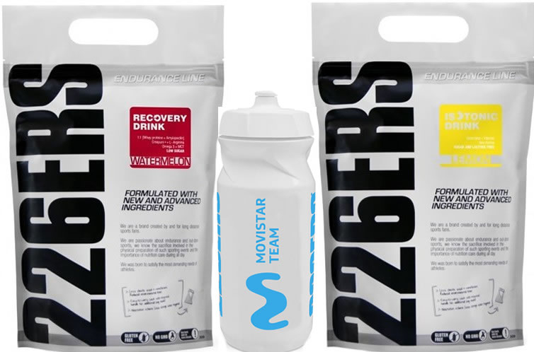 Pack 226ERS Recovery Drink 1 kg + Isotonic Drink 1 kg + Bidon Movistar Team 600 ml