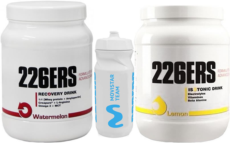 Pack 226ERS Isotonic Drink 500 gr + Recovery Drink 500 gr + Bidon Movistar Team 600 ml