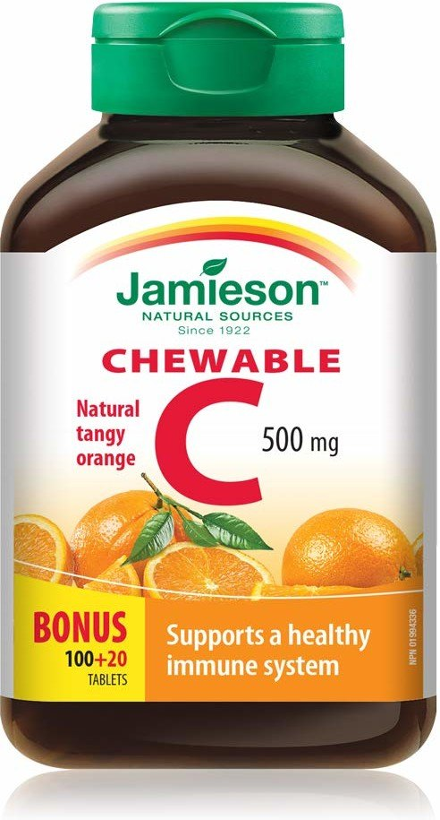 Jamieson Vitamina C 500mg Naranja Masticable 100+20 Tableta